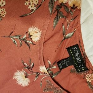 Forever 21 Dresses - Rust colored cotton dress with dandelion print